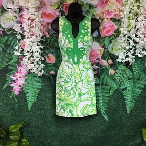 Lily Pulitzer green and white mini shift dress
